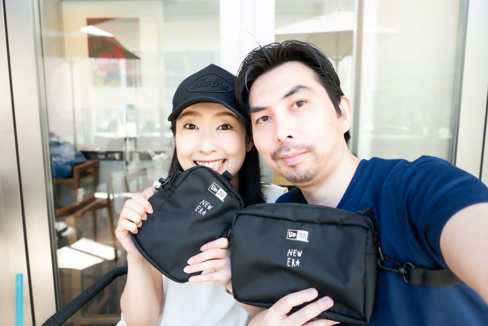 ニューエラと高橋愛さんのコラボバック購入アラフォーカップルお揃い