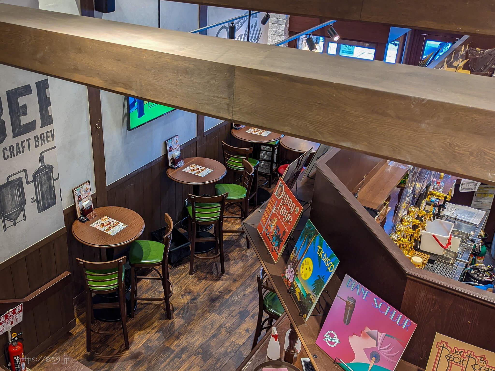 札幌キッチンのランチでクラフトビール飲み比べ旧アイリッシュパブケル2階から1階を見下ろす